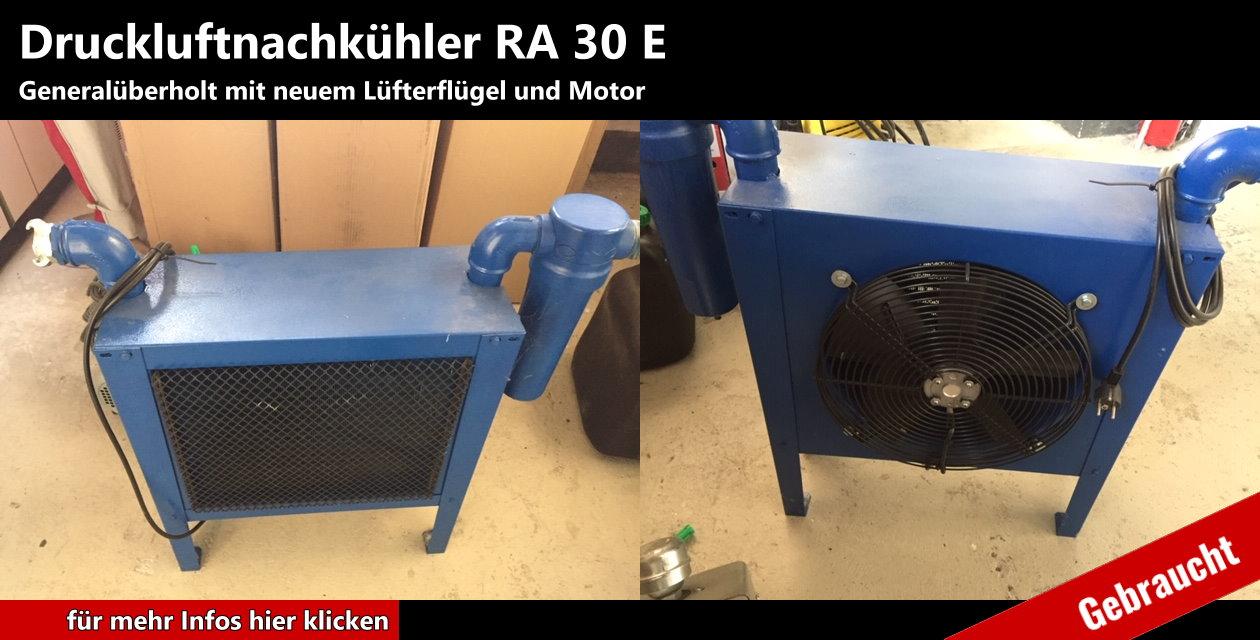 Druckluftnachkühler RA 30 E Lüfterflügel und Motor neu gebraucht, generalüberholt  Leistung: 3 m³ / min.  Antrieb: 230 V Wechselstrom  Wasserabscheider manuell  Kabel und Stecker  auf Füßen frei stehend