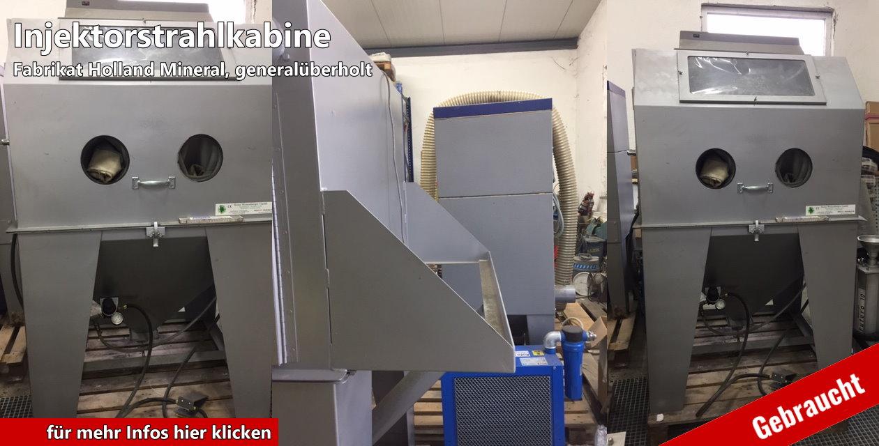 Injektorstrahlkabine Fabrikat: Holland Mineral  gebraucht und generalüberholt  Größe des Arbeitsraum: 1000 x 1000 x 800 mm ( B x T x H )  Patronenfilteranlage freistehend, Leistung: 1000 m³ / h